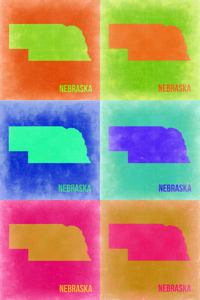 Wall Art - Painting - Nebraska Pop Art Map 2 by Naxart Studio