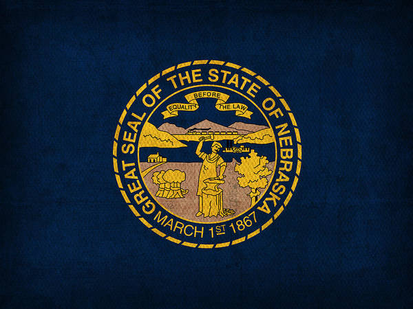 Nebraska State Flag Art On Worn Canvas Art Print