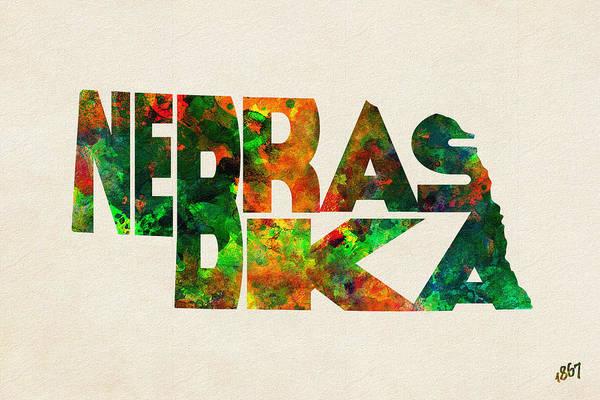 Wall Art - Digital Art - Nebraska Typographic Watercolor Map by Inspirowl Design