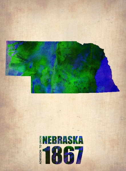 Wall Art - Digital Art - Nebraska Watercolor Map by Naxart Studio