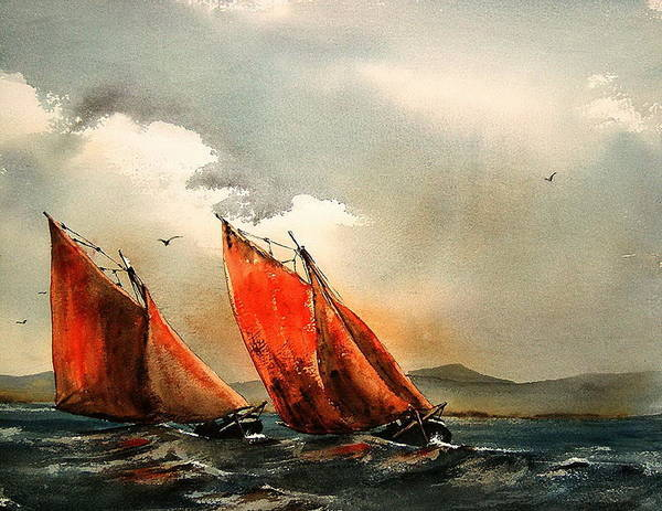 Galway Painting - Neck And Neck by Val Byrne