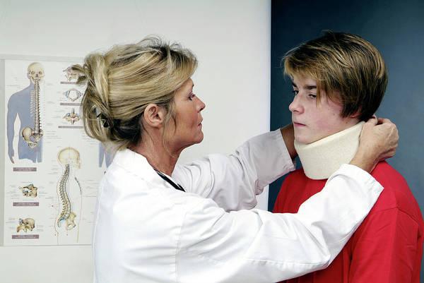 Patient Photograph - Neck Brace by Cc Studio/science Photo Library