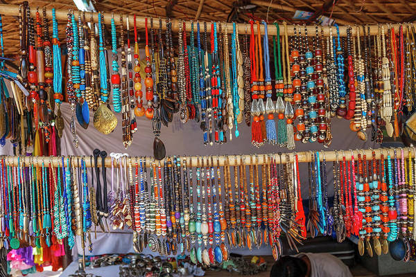 Gift Shops Photograph - Necklaces, New Delhi, India by Ali Kabas