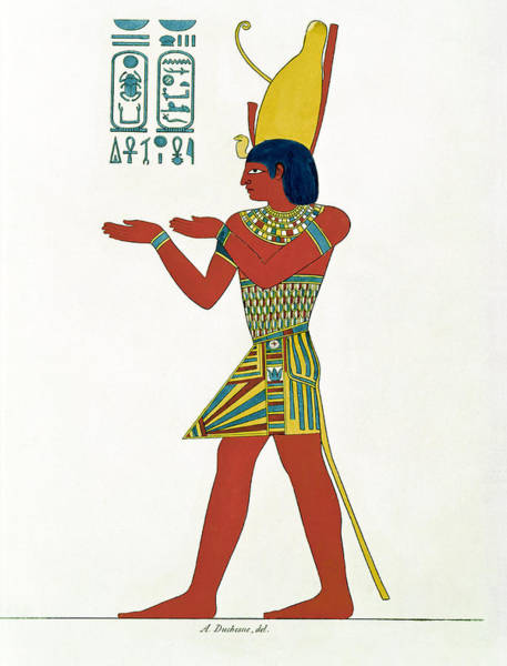 Hieroglyph Photograph - Nectanebo I 380-362 Bc Wearing The Double Crown Of Upper And Lower Egypt, From Monument De Legypte by A. Duchesne