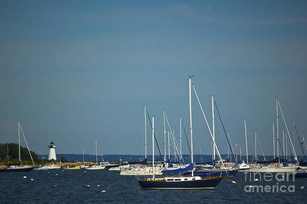 Photograph - Ned's Point Lighthouse With Sailboats by Amazing Jules