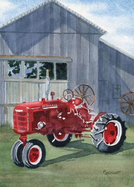 Farm Painting - Neighbor Don's Farmall by Marsha Elliott