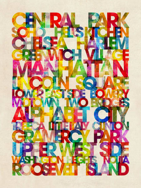 Typographic Wall Art - Digital Art - Neighborhoods Of Manhattan New York by Michael Tompsett