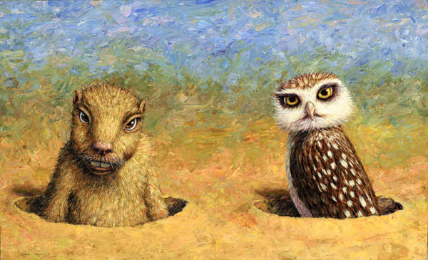 Burrowing Owl Painting - Neighbors by James W Johnson