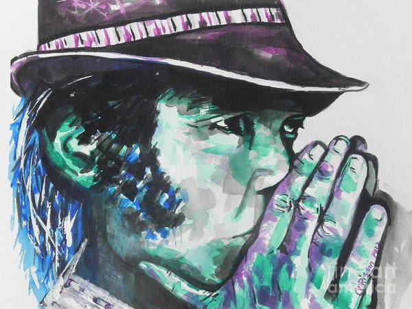 Rock Texture Painting - Neil Young by Chrisann Ellis