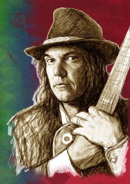 Shadows Drawing - Neil Young - Stylised Pop Art Drawing Portrait Poster  by Kim Wang