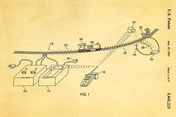 Neil Young Photograph - Neil Young Train Control Patent Art 1995 by Ian Monk
