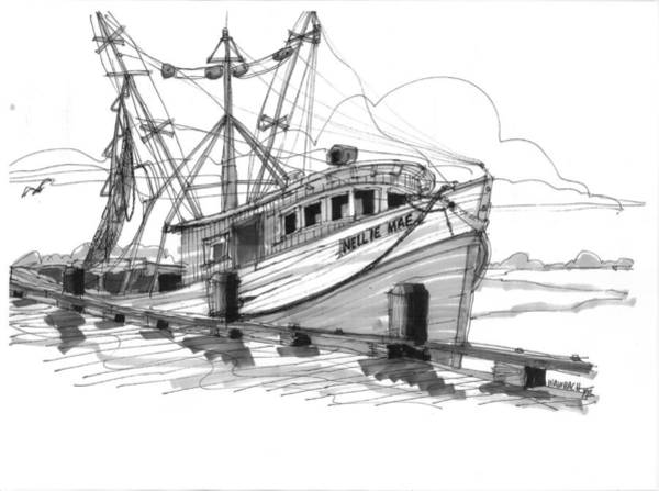 Drawing - Nellie Mae Fishing Boat by Richard Wambach