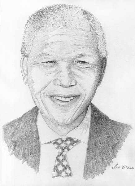 Drawing - Nelson Mandela by M Valeriano