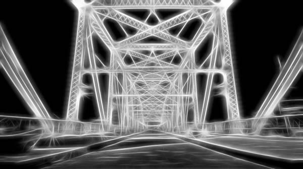 Digital Art - Neon Bridge At Night by Dan Sproul