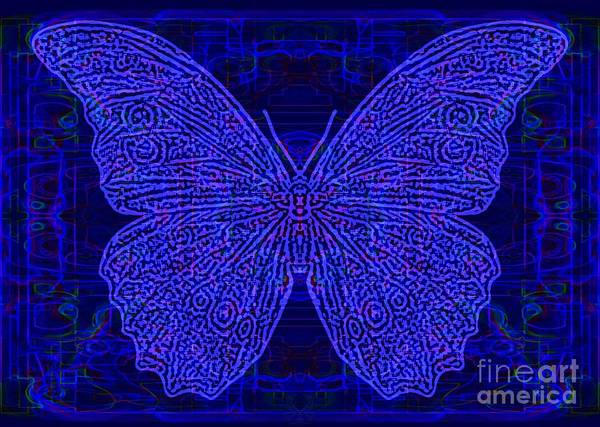 Primary Colors Drawing - Neon Butterfly 2 Blues by Dale Crum