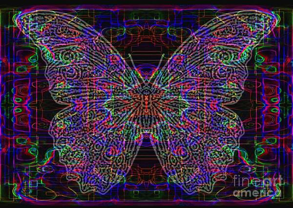 Primary Colors Drawing - Neon Butterfly  by Dale Crum