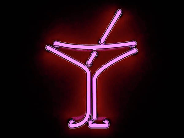 Placard Photograph - Neon Cocktail City Sign Signboard. 3d by Polesnoy