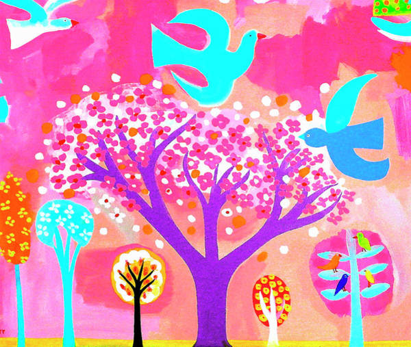Neon Colored Birds And Flowering Trees Art Print by Christopher Corr