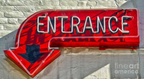 Photograph - Neon Entrance Sign by Gregory Dyer