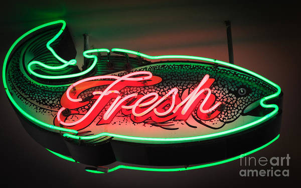 Pikes Place Photograph - Neon Fish by Inge Johnsson