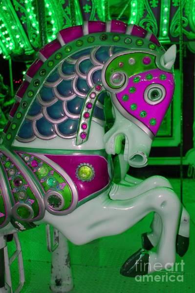 Carousel Digital Art - Neon Green Carousel Horse by Patty Vicknair