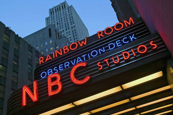Nbc Photograph - Neon Lights Of Nbc Studios And Rainbow by Panoramic Images