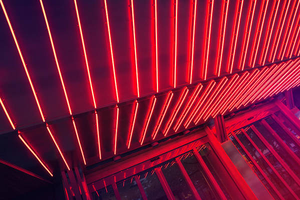 Entrance Photograph - Neon Lit Entrance by Marcus Lindstrom