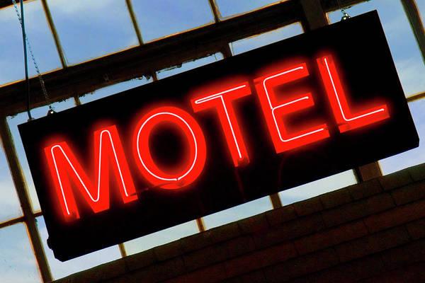 Red Sky Digital Art - Neon Motel Sign by Mike McGlothlen