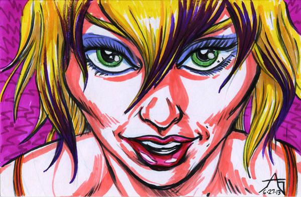Babe Drawing - Neon Nymph by John Ashton Golden