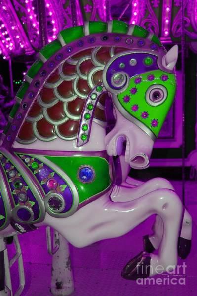 Carousel Digital Art - Neon Purple Carousel Horse by Patty Vicknair