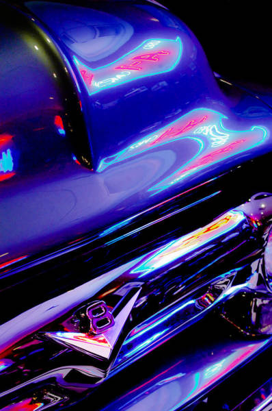 Wall Art - Photograph - Neon Reflections - Ford V8 Pickup Truck -1044c by Jill Reger