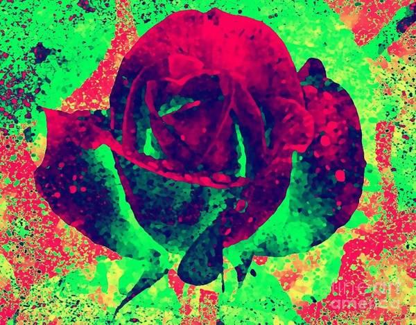 Digital Art - Neon Rose by Catherine Lott