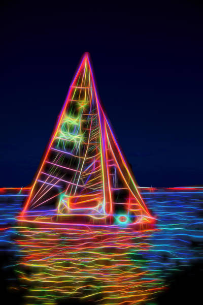 Bacardi Photograph - Neon Sailboat by David Smith