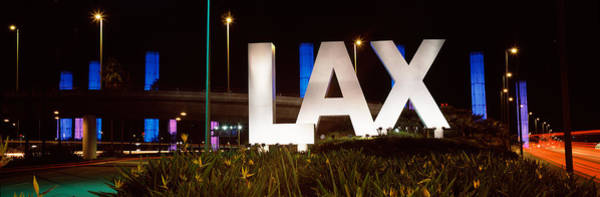 Lax Photograph - Neon Sign At An Airport, Lax Airport by Panoramic Images