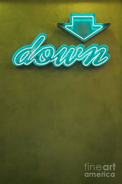Photograph - Neon Sign With Arrow Pointing Down by Bryan Mullennix