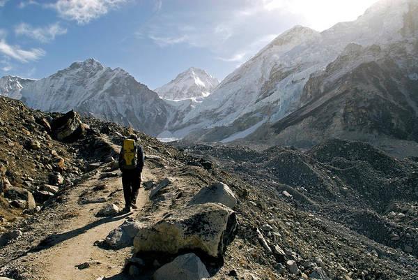 Wall Art - Photograph - Nepal A Trekker On The Everest Base by David Noyes