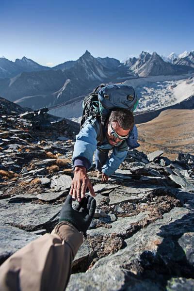 Nepali Sherpa Climbing In Himalayas Art Print by Hadynyah