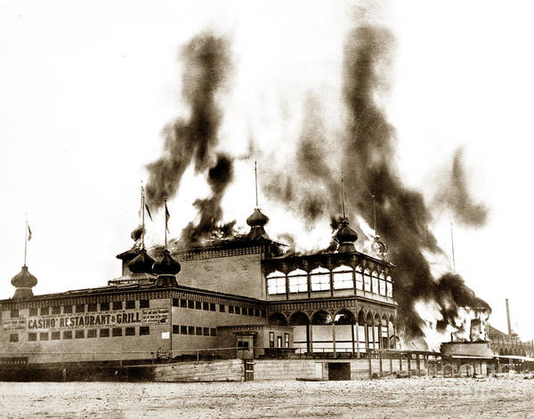 Photograph - Neptunes Casino On Santa Cruz Beach Burning On June 22 1906 by California Views Archives Mr Pat Hathaway Archives