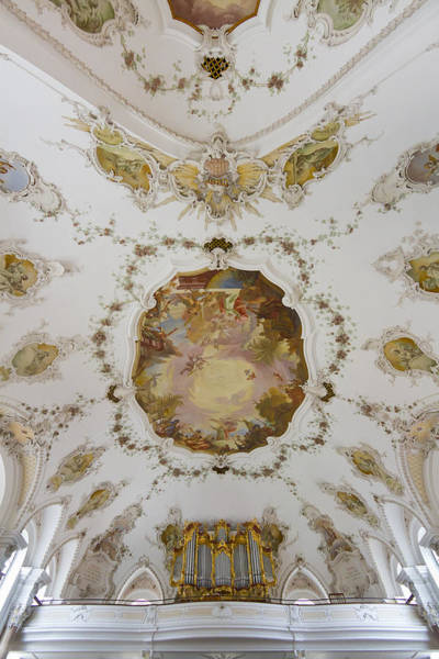 Photograph - Nesselwang Church Ceiling And Organ by Jenny Setchell