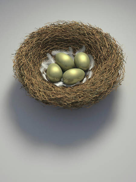 Wall Art - Photograph - Nest With Four Golden Eggs by Ikon Images