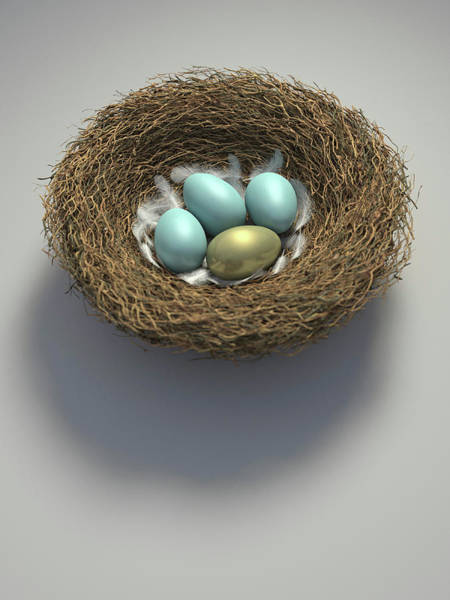 Wall Art - Photograph - Nest With Golden Egg Among Blue Eggs by Ikon Images