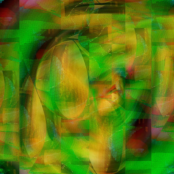 Digital Art - Netted Green - Digital Abstract by rd Erickson
