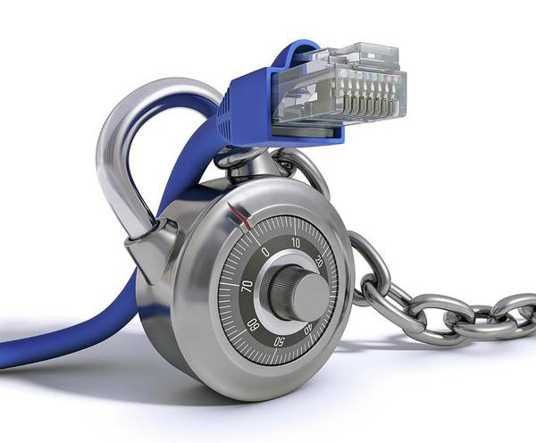 Padlock Photograph - Network Security by Ktsdesign/science Photo Library