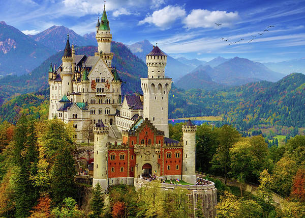 Wall Art - Painting - Neuschwanstein Castle by MGL Meiklejohn Graphics Licensing