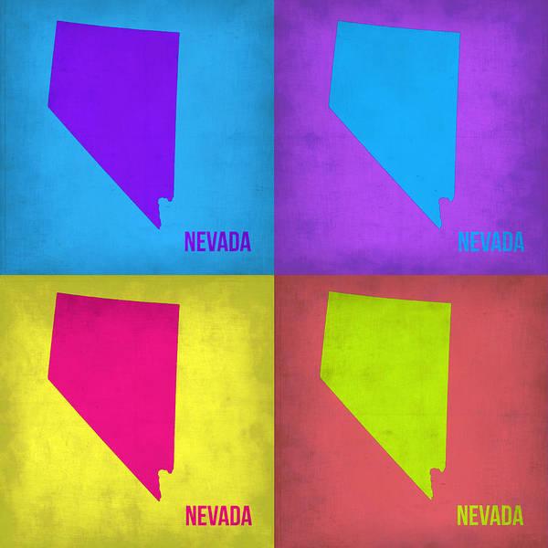 Map Painting - Nevada Pop Art Map 1 by Naxart Studio