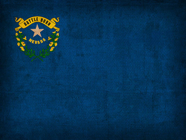 Wall Art - Mixed Media - Nevada State Flag Art On Worn Canvas by Design Turnpike