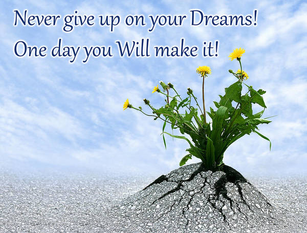 Photograph - Never Give Up On Your Dreams One Day You Will Make It by Dreamland Media
