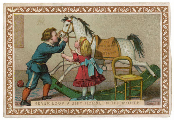 Folklore Drawing - Never Look A Gift Horse In The  Mouth by Mary Evans Picture Library