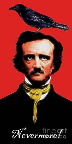 Photograph - Nevermore - Edgar Allan Poe - Electric by Wingsdomain Art and Photography