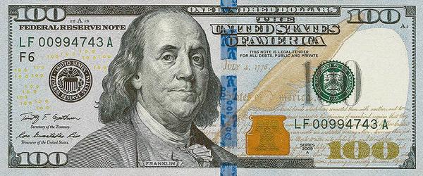 Digital Art - New 2009 Series One Hundred Us Dollar Bill by Serge Averbukh